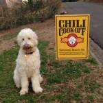 Chili Cook Off Dog with Sign